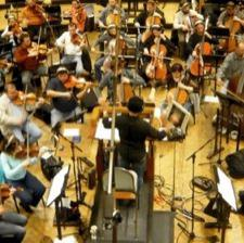 Conducting an orchestral session in Prague